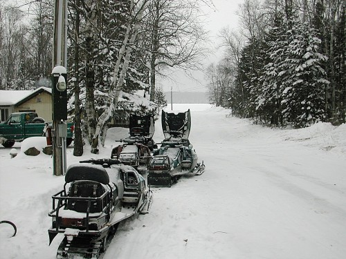 Snowmobiles on Lane